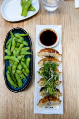 The edamame beans and pork gyoza at Osaka Trading Co in Forest Lodge.