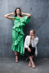 Arnsdorf designer Jade Sarita Arnott (right,  with model Olivia Boland) says VAMFF is helping to drive the conversation around sustainable fashion.