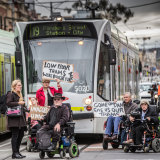 A small band of disability advocates campaigning for better access to trams back in 2018.