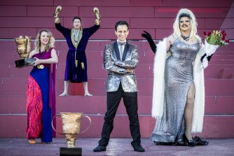 Fringe Festival director Simon Abrahams, centre, with artists Chlamydia Clementine (Ezra Miska), Jacob Steele and Asha Sym.