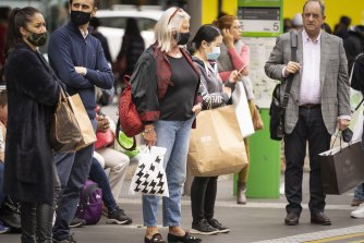 Shoppers in Bourke street in December last year