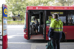 Some essential workers were still relying on the city's public transport network on Monday.