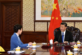 Hong Kong chief executive Carrie Lam meets with Chinese President Xi Jinping in December 2019.
