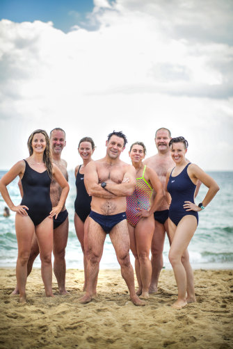 Shrinkäge on the beach: (from left) Holly Kent, Ross Pollard, Amy Bennison, Jamie Lingham, Kendra Wright, Torben and Lynn Vedelsby.