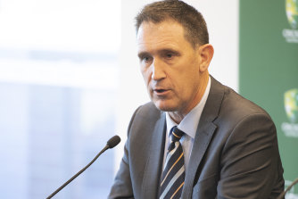 Cricket Australia Chief Executive Officer James Sutherland speaks to the media about his resignation.