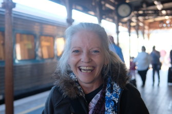 Jan and the XPT train that brought her home to Wagga.