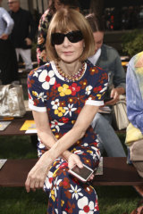 On repeat ... Anna Wintour wearing the same dress at New York Fashion Week last September that she wore on arrival in Melbourne on Sunday.