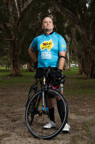 Bill Springett-Kelly has been training for the Tour de Cure's signature ride from Sydney to Geelong to fight cancer.