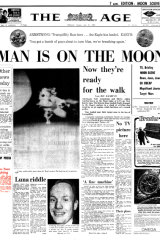 Front page of The Age, July 21, 1969 - MAN IS ON THE MOON.