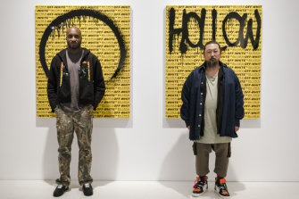 Murakami (right) worked with cult designer Virgil Abloh (left) in 2018.