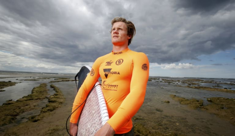 It's his workplace: one of the few Australian pro kite surfers, James Carew, pictured at Point Danger, Torquay.