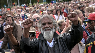 Reg Edwards on the lawns in front of Old Parliament House during Kevin Rudd's apology speech.