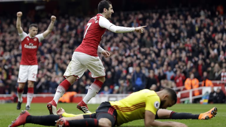 Arsenal's Henrikh Mkhitaryan celebrates after scoring against Watford.