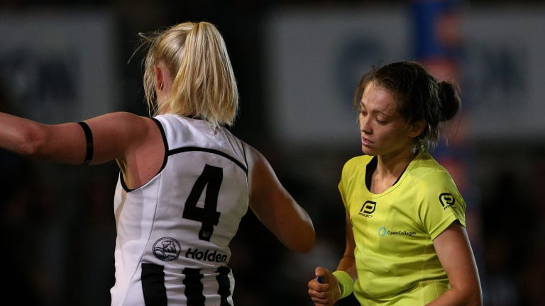 Sarah D'Arcy was reported during Friday night's match against Carlton.
