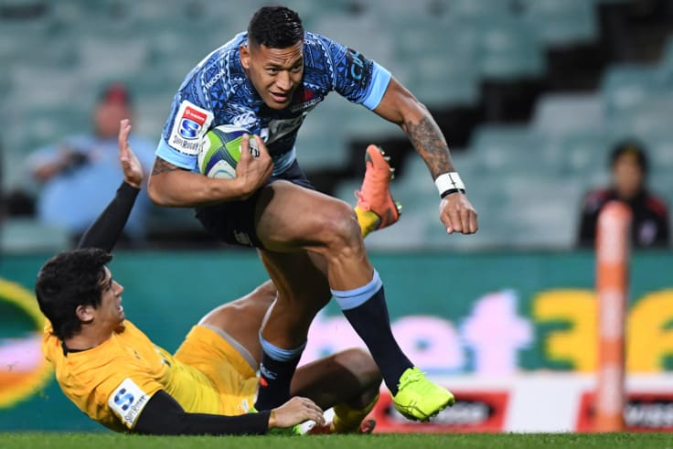 Ready: Israel Folau scores a try during the Waratahs' 40-27 loss to the Jaguares in Sydney last year.