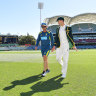 Australian cricket team coach Justin Langer, left, and captain Tim Paine, right,