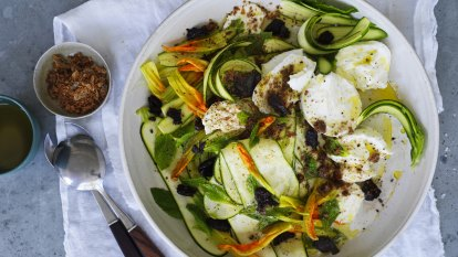Karen Martini's zucchini and buffalo mozzarella salad with mint, dried olives and anchovy dust