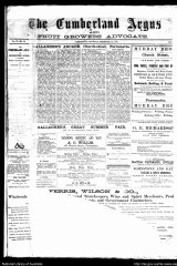 A piece of history: Front page of the Cumberland Argus on September 22, 1888.