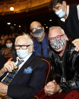 """French designer Pierre Cardin, P. David Ebersole, Todd Hughes and Pierre Cardin's nephew Rodrigo Basilicati-Cardin attend the """"House Of Cardin"""" Special Screening at Theatre du Chatelet on September 21, 2020 in Paris, France."""