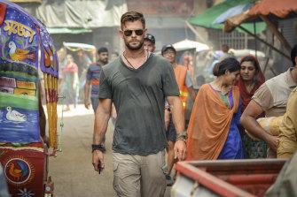 Chris Hemsworth as Tyler Rake in Extraction.