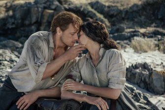 A love scene from the series Outlander, starring Sam Heughan and Caitriona Balfe.