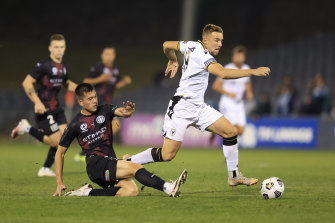 Macarthur's Michael Ruhs scores against City to level the match.