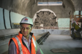 Transport Minister Andrew Constance in the tunnels for the new station on Friday.