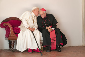 Anthony Hopkins, left, and Jonathan Pryce in The Two Popes.