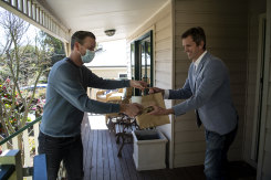 Kickaboom cafe delivers a meal to Steve Baird at his Glenbrook home.