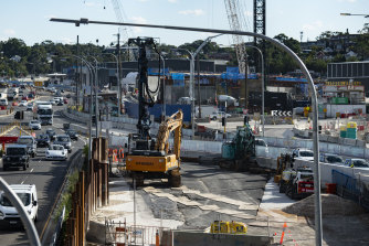 Construction of the interchange for WestConnex at Rozelle.