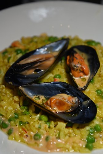 Pea and saffron risotto with spanner crab and Kinkawooka mussels.