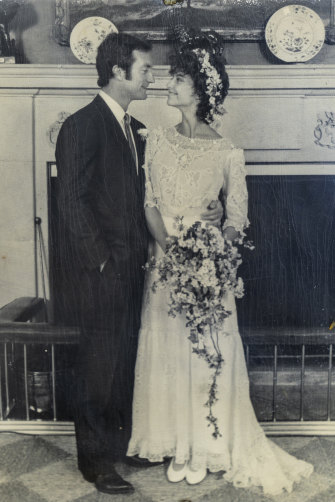 Bryan Brown and Rachel Ward on their wedding day in 1983.