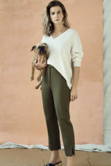 Rachel wears Jac + Jack sweater, Camilla and Marc trousers, Marni earrings, Bally shoes, her own necklace.