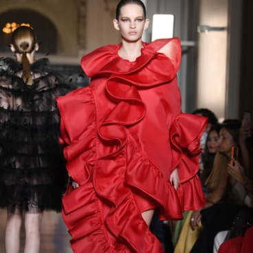 A model walks the runway during the Valentino Haute Couture Fall Winter 2018/2019 show as part of Paris Fashion Week.