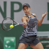 Power and poise: Barty's all-round game is working for her on what is not the Aussie's favoured surface.
