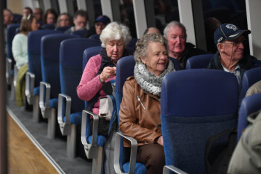 Passengers aboard the free trial ferry from Geelong to Docklands.