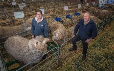 WA graziers Lachlan Dewar, left, and his father Craig Dewar at the Australian Sheep and Wool Show in Bendigo.