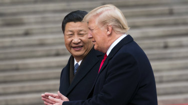 President Donald Trump with President Xi Jinping of China during a welcome ceremony in Beijing.