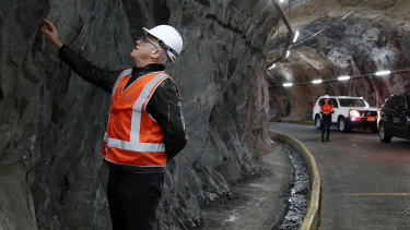 Prime Minister Malcolm Turnbull during his tour of the Snowy Hydro Tumut 2 power station during his visit to the Snowy Mountains region to give an update on Snowy Hydro 2.0.