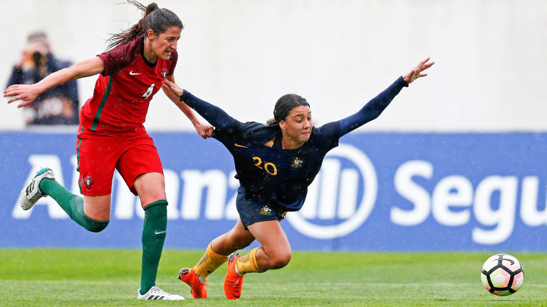 Portugal's Silvia Rebelo (left) tangles with Australia's Sam Kerr.