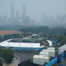 Home of the Australian Open, Melbourne Park, is shrouded with smoke on Wednesday morning.