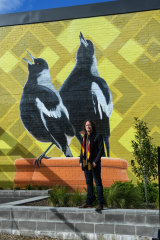 Morris often uses native birds and geometric patterns in his work, representing connectivity and collaboration.