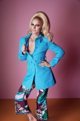 Courtney wears Alice McCall jacket, Pucci  pants from Parlour X, Miu Miu earrings.