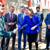 Premier Gladys Berejiklian at Randwick Boys' High School, which could become a co-ed school.