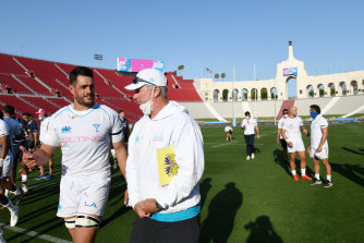 Former Waratah Dave Dennis and incoming NSW coach Darren Coleman in Los Angeles.