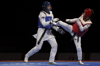 Janine Watson of Team Australia during her semi final earlier this evening.
