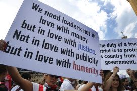Tens of thousands of protesters gathered in cities and towns nationwide on Sunday.