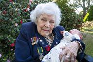 Jean Smith meets her great-grandson Guim Freestone Liesa on August 1 in Warragul.