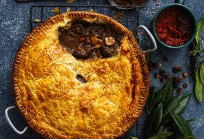 Nagi Maehashi recipe for slow-cooked kangaroo pie with bush tomato sauce.