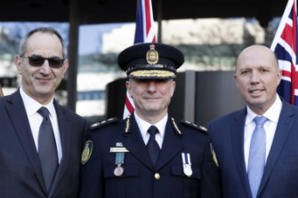 (L-R) Home Affairs secretary Michael Pezzullo, Australian Border Force Commissioner Michael Outram and Minister for Home Affairs Peter Dutton in May this year.
